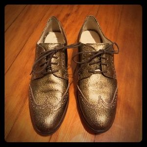 Cole Haan Breslin gold metallic oxfords